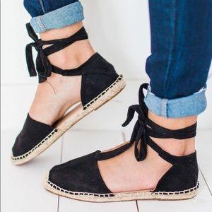 espadrilles black flats wrap up suede sandals